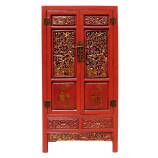 Red Fujain Carved Armoire