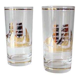 Culver Mid-Century Gold Nautical Ship Glasses - A Pair
