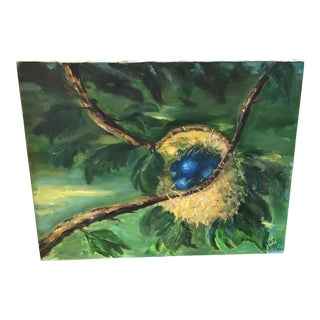 Tree & Nest Signed Oil Painting
