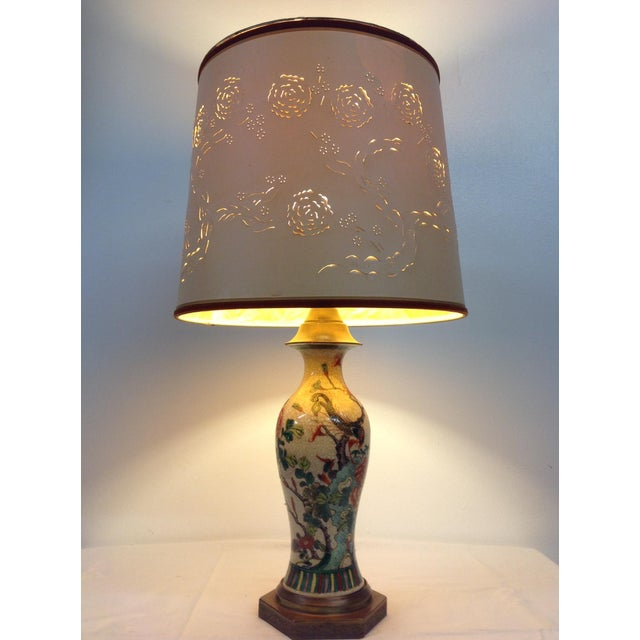 Antique Porcelain Asian Style Table Lamp - Image 3 of 9