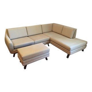 Joybird Mid-Century Style Right Side Sectional & Ottoman