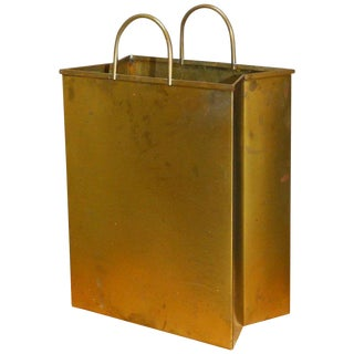 Gio Ponti Attributed Brass Shopping Bag Magazine Holder