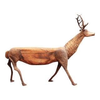 Primitive Elk Deer Sculpture- Carved Wood and Armature