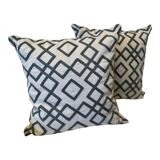 Cream & Charcoal Geo Diamond Throw Pillows - A Pair