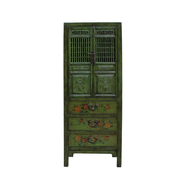 Chinese Distressed Green Narrow Wood Carving Storage Cabinet - Image 7 of 7