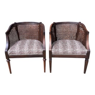 Wood & Rattan Leopard Side Chair