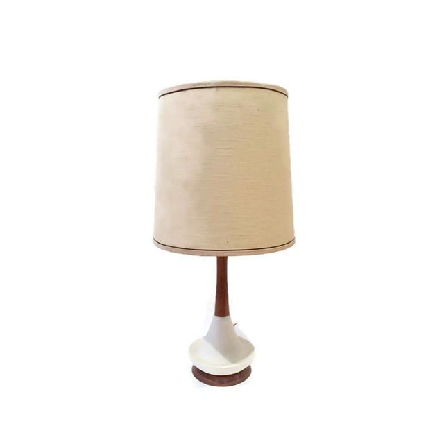 Image of Danish Style Mid Century Walnut Pottery Lamp