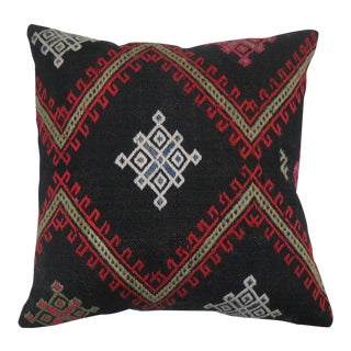 Black Jajim Textile Pillow