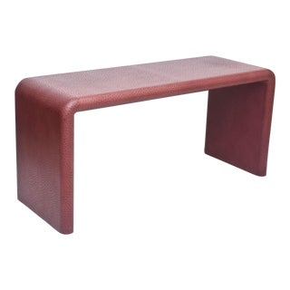 """American Modern Burgundy """"Ostrich"""" Waterfall Console Table, Karl Springer"""