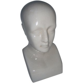 White Porcelain Phrenology Head Bust or Bookend
