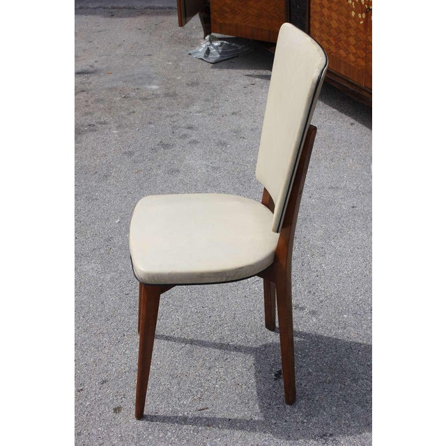 Vintage French Art Deco Mahogany Dining Chairs - Set of 6 - Image 4 of 7