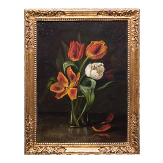 Still Life Painting With Tulips