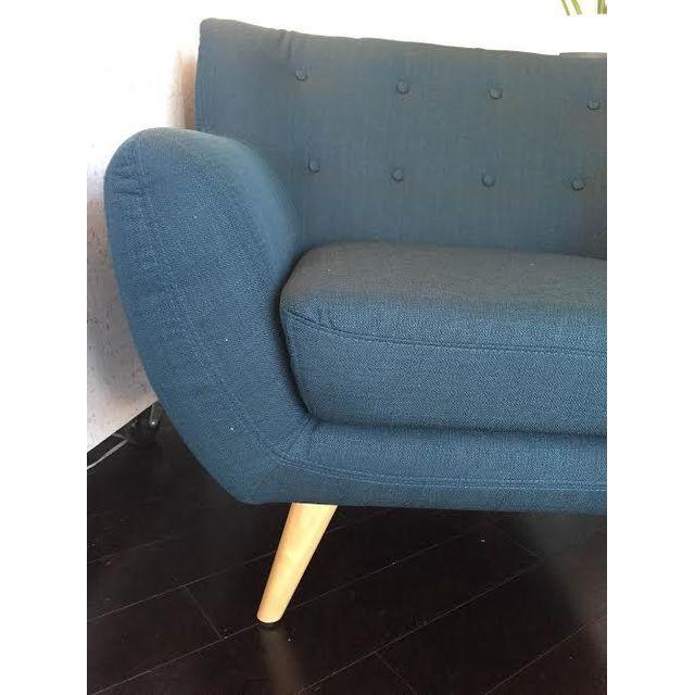 Mid-Century-Style Polyester Blue Armchair - Image 3 of 5
