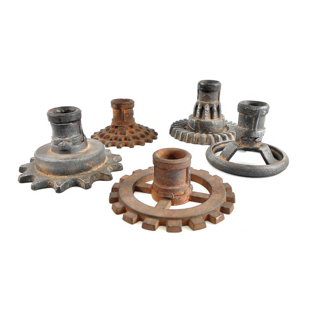 Vintage Factory Gears Candle Holders - Set of 5 - Image 5 of 10