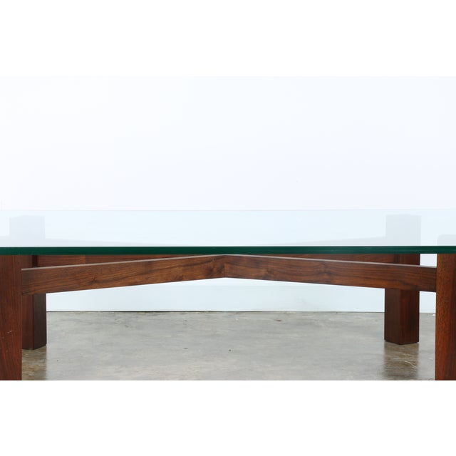 Solid Walnut Coffee Table: Solid Walnut Base Coffee Table With Glass Top