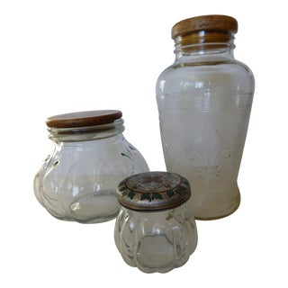 Mid-Century Glass Storage Jars - Set of 3