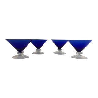 Vintage Cobalt Blue Martini Glasses - Set of 4