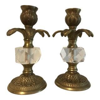 Vintage Brass & Lucite Candlesticks- A Pair