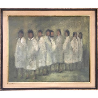Figures in White Vintage Oil on Linen