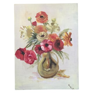 Vintage Shabby Chic Still Life Floral Painting
