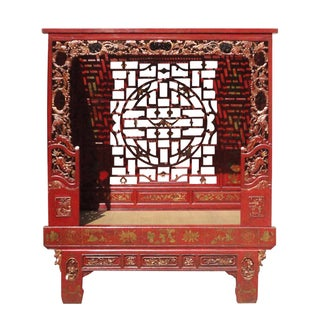 Chinese Red Solid Wood Carved Bed Frame