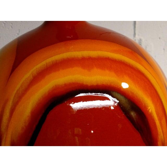 Retro Vintage Orange Ceramic Table Lamp - Image 5 of 6