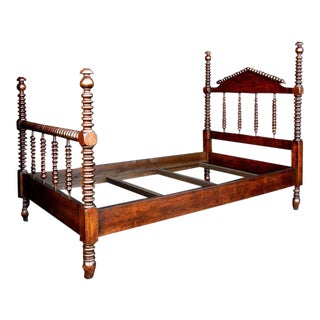Custom Mahogany Wood Bobbin Spool Twin Bed
