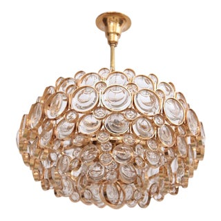 Outstanding Gilded Brass and Crystal Glass Chandelier by Palwa