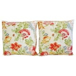 Image of Custom Colorful Floral Linen Pillows - Pair