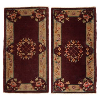 1920s Antique Chinese Art Deco Rugs - Pair - 2′ × 3′10″