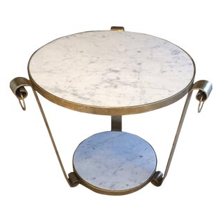 White Gold Leaf & Marble Wrought Iron Table