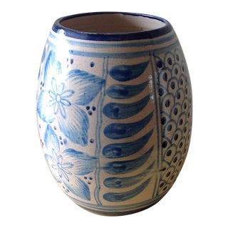 Blue & White Stoneware Ceramic Vessel