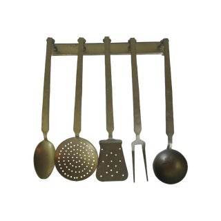 Vintage Hanging Brass Utensils - Set of 5