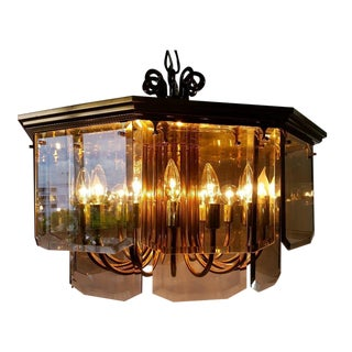 Modern Octagonal Smoked Glass & Metal Chandelier