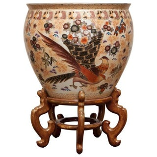Chinese Porcelain Fish Bowl Jardiniere on Stand