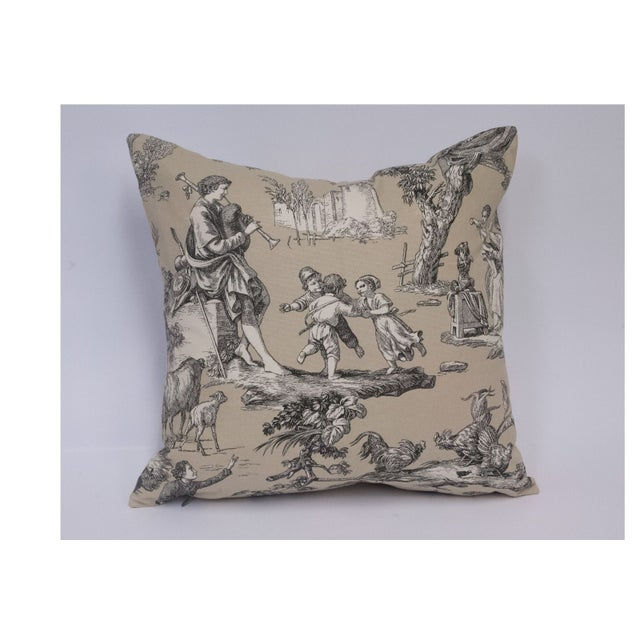 Image of Custom Toile Pillows with Black Overspray - A Pair