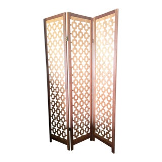 Vintage Wooden Room Divider Privacy Screen