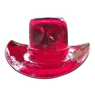 Blenko Red Glass Cowboy Hat