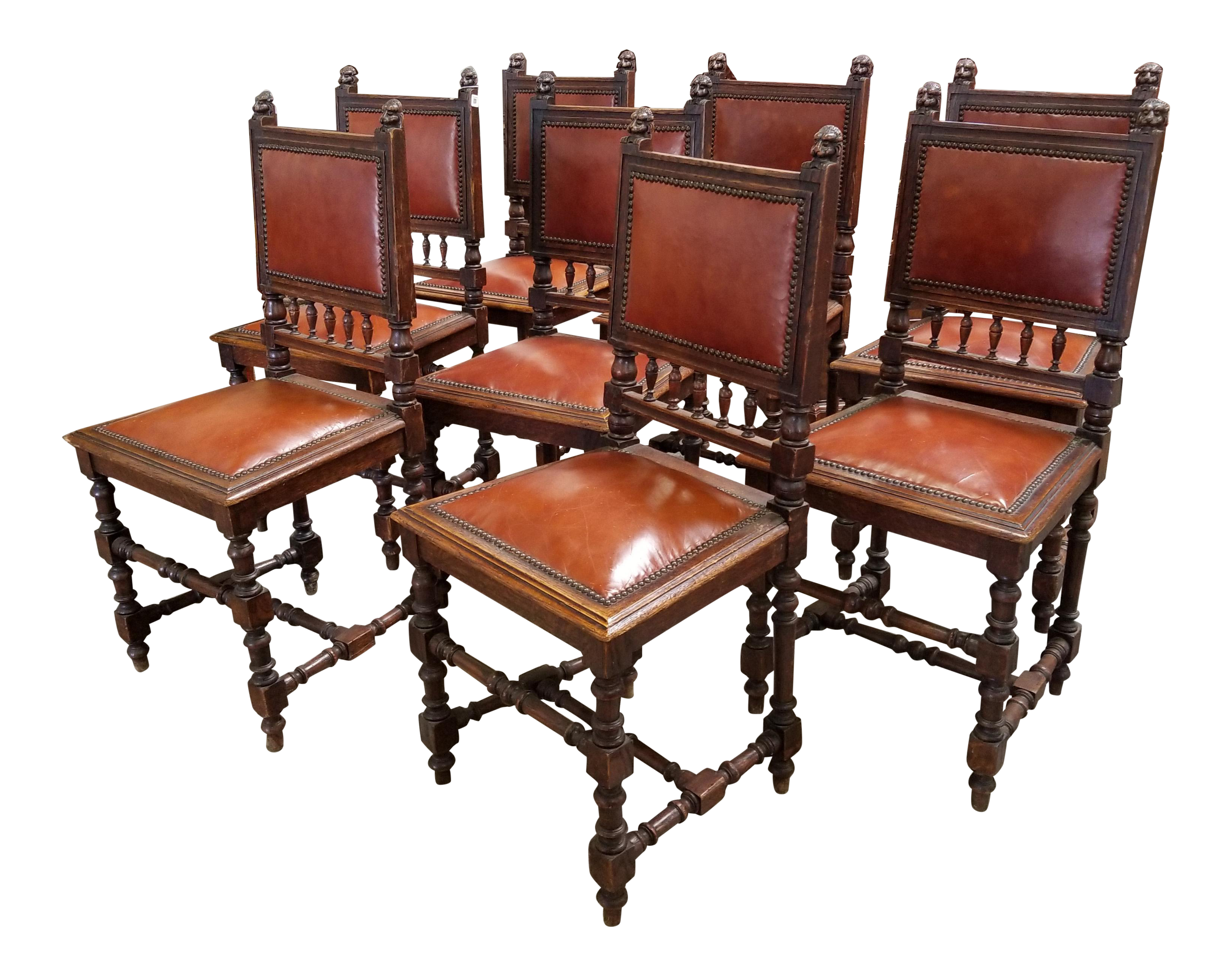 Vintage Leather Dining Chairs vintage & used spanish dining chairs | chairish