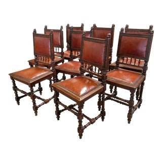 Vintage Orange Leather Spanish Revival Chairs- Set of 8
