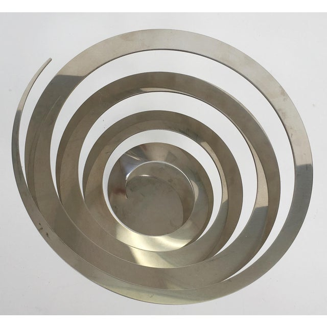 Danish Modern Steel Swirl Fruit Bowl / Centerpiece - Image 4 of 6