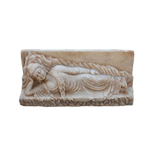 Chinese Distressed Brown White Stone Reclining Buddha Statue