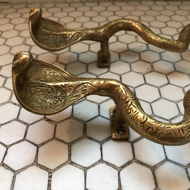 Gold Brass Cobra Door Handles- a Pair - Image 7 of 11