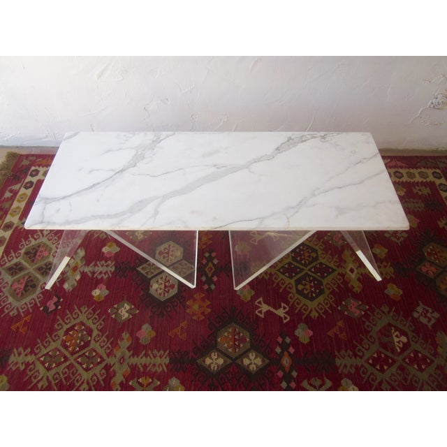 Italian Lucite & Marble Coffee Table - Image 2 of 11