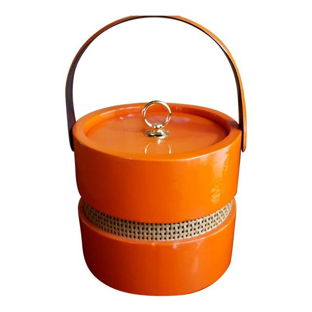 Vintage Orange Vinyl Ice Bucket - Image 1 of 4