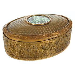 "19th C. Bronze & Enamel 5"" Oval Jewelry Box"