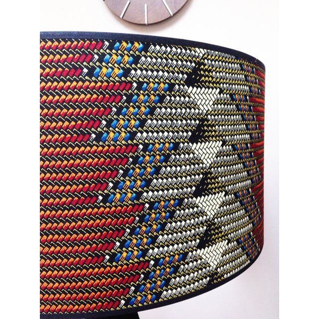 Image of Tripod Lamp with African Print Textile Shade