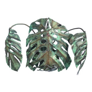 "Garland Faulkner Enameled Copper Monstera ""Swiss Cheese Plant"" Wall Sconce"
