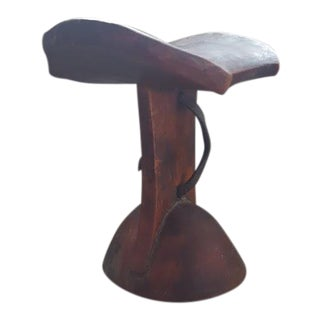 African Headrest With Leather Strap