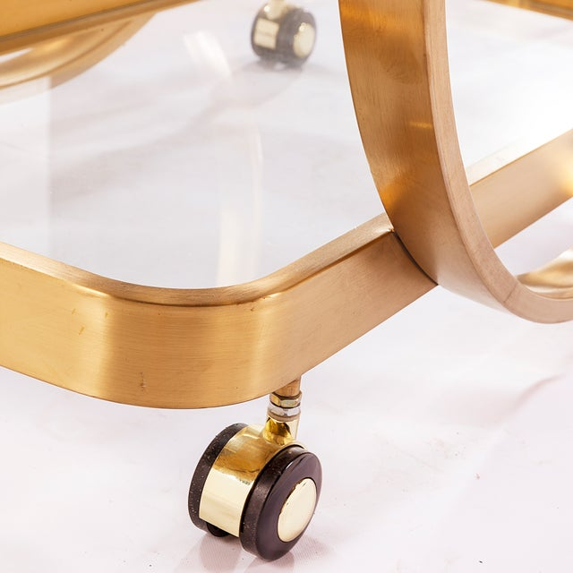 Golden Steel Bar Cart With Glass Shelves & Rolling Casters - Image 3 of 4